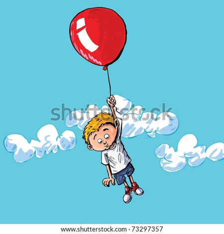Cartoon of a boy hanging onto a baloon. A cloudy blue sky behind him - stock vector
