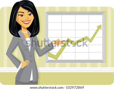 Cartoon of a business woman pointing to rising business trends - stock vector