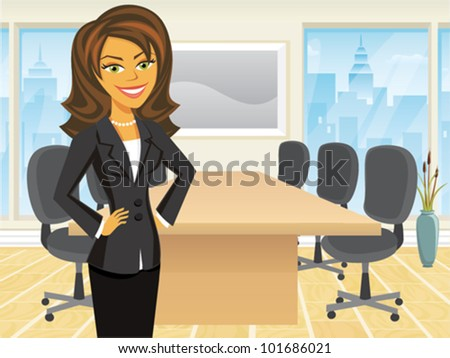 Cartoon of a business woman standing in a boardroom - stock vector