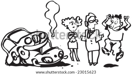 Cartoon of a car accident + lawyer + - stock vector
