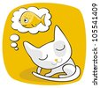 Cartoon of a cat dreaming of fish - stock vector