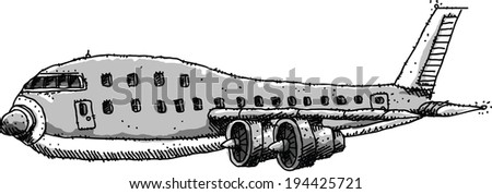 Cartoon of a commercial jet aircraft.