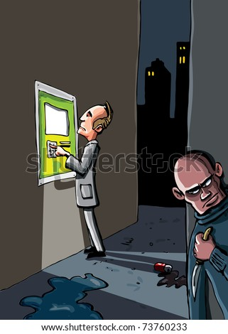 Cartoon of a crime that is about to happen. A man at an ATM machine is being watched by a criminal with a knife