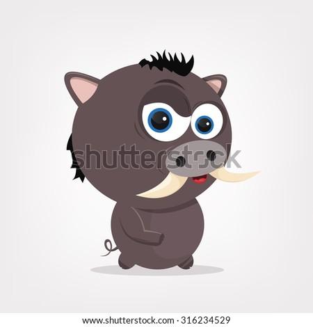 cartoon of a cute boar - stock vector
