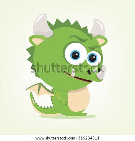 cartoon of a cute dragon - stock vector
