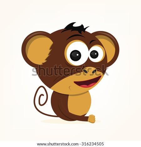 cartoon of a cute monkey - stock vector