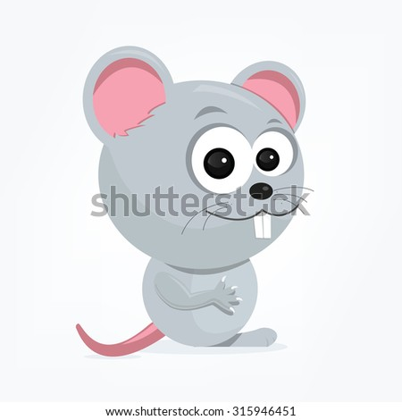 cartoon of a cute mouse - stock vector