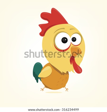 cartoon of a cute rooster - stock vector