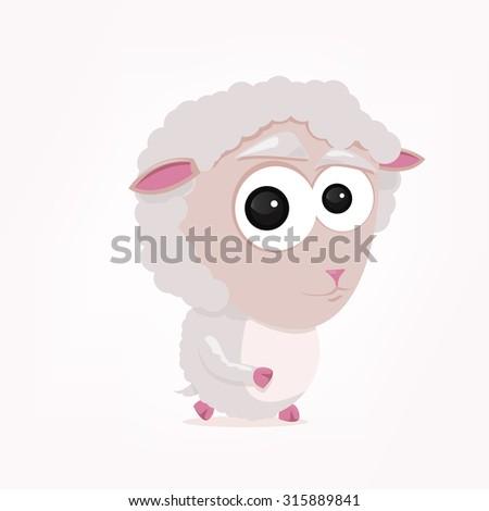 cartoon of a cute sheep - stock vector