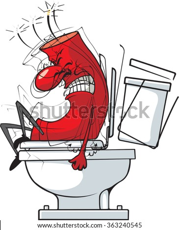 Cartoon of a firecracker on the toilet. Vector File. Fire in the Hole  - stock vector