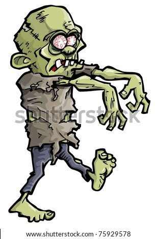 Cartoon of a green zombie hand coming out of the earth - stock vector