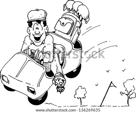 Cartoon of a happy golfer in a Speeding golf cart.