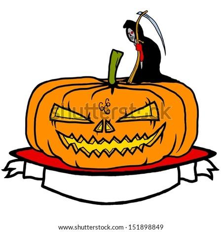 Cartoon of a jack o lantern pumpkin head with a Grim Reaper for Halloween concept.  - stock vector