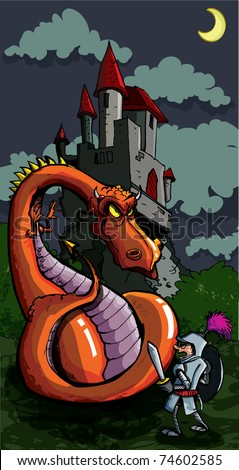 Cartoon of a knight facing a fierce dragon. A medieval castle in the background - stock vector