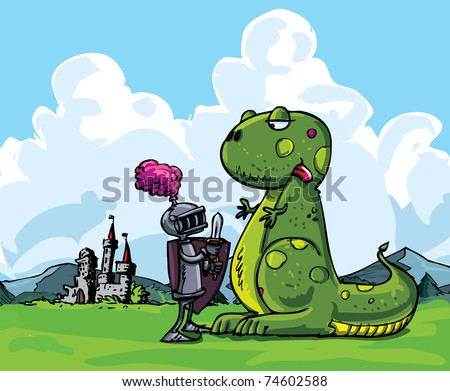 Cartoon of a knight facing a fierce dragon. A medieval castle in the background