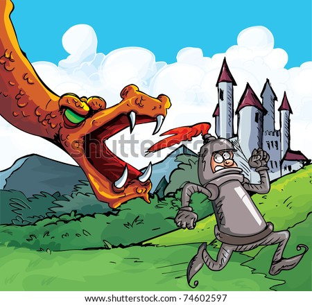 Cartoon of a knight running from a fierce dragon. Castle in the background