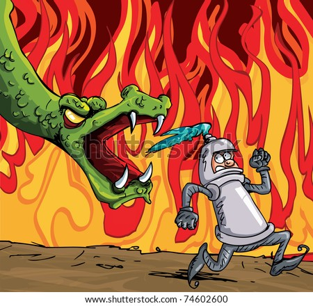 Cartoon of a knight running from a fierce dragon. Fire in the background - stock vector