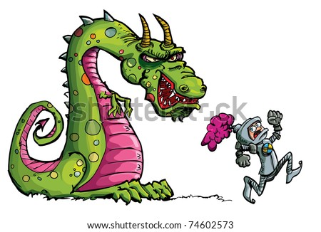 Cartoon of a knight running from a fierce dragon.Isolated on white - stock vector