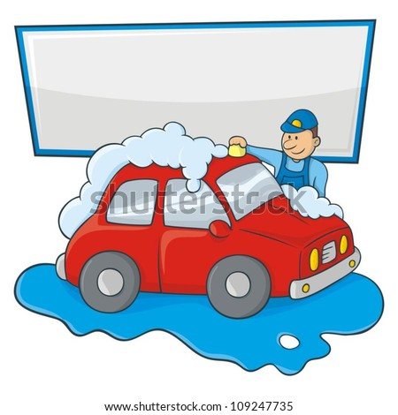 Cartoon of a man in blue form hand washing a red car with copy space for your message.