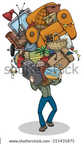 cartoon of a Man, moving, with huge pile of things, furniture and objects balanced in hands, vector illustration - stock vector