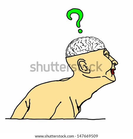 Cartoon of a man with an exposed skull showing his brain with a question mark hovering above it. - stock vector