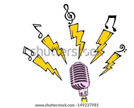 Cartoon of a retro microphone radiating electric bolt and musical notes.  - stock vector