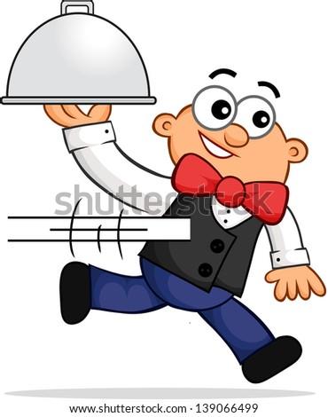 Cartoon of a running waiter representing fast service. - stock vector
