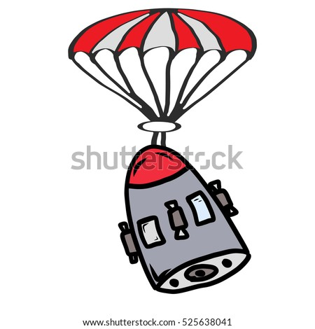 Cartoon of a space capsule returning to earth via parachute Hand drawn original make believe image