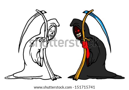 Cartoon of a vile Grim Reaper for Halloween concept.  - stock vector