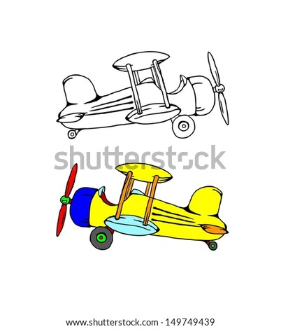 Cartoon of a vintage propeller airplane.  - stock vector