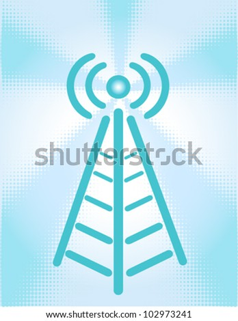 Cartoon of a wirless signal coming from a tower - stock vector