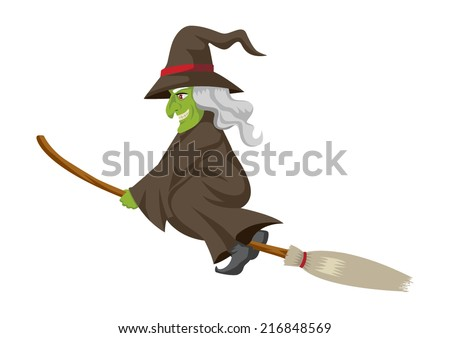 Cartoon of a witch flying with her broom - stock vector