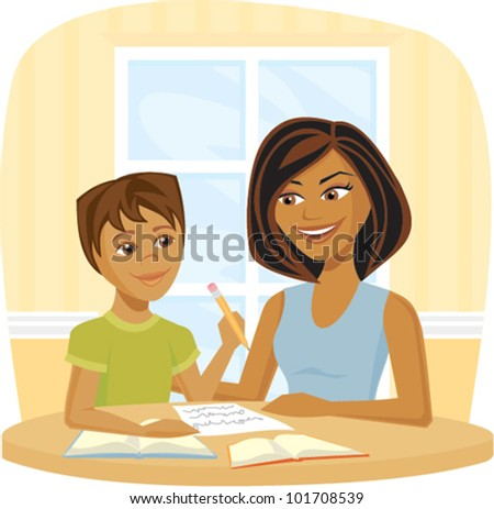 Cartoon of a woman helping a child with school work - stock vector