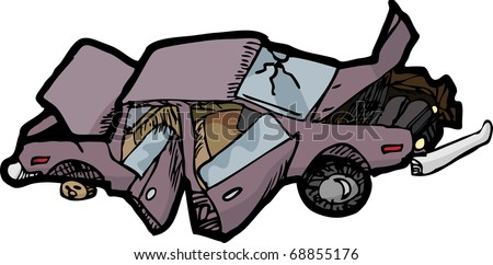 Cartoon of a wrecked automobile with a broken windshield. - stock vector