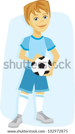 Cartoon of a young boy with soccer ball in uniform - stock vector