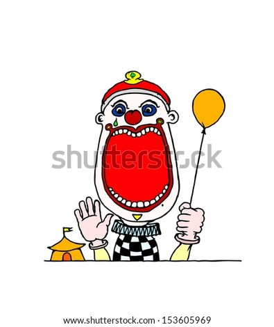 Cartoon of a young clown holding a balloon at the circus, with a wide open mouth with blank space for text.  - stock vector