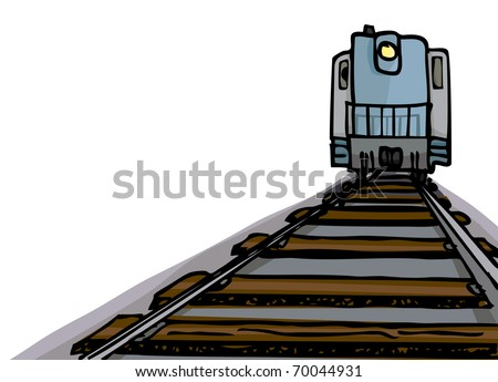 Cartoon of an oncoming diesel locomotive with headlight on tracks. - stock vector