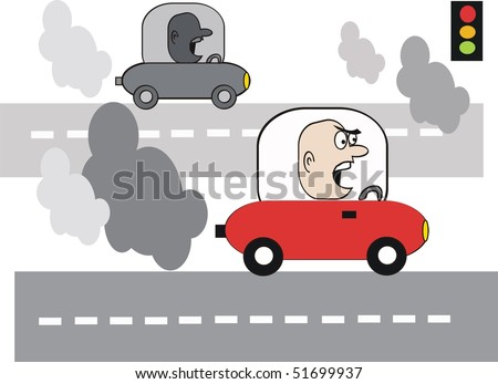 Cartoon of angry motorist with exhaust fumes on highway. - stock vector