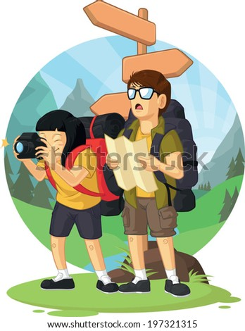 Cartoon of Backpacker Boy & Girl Enjoying Vacation - stock vector