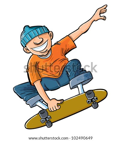 Cartoon of boy jumping on his skateboard. Isolated on white
