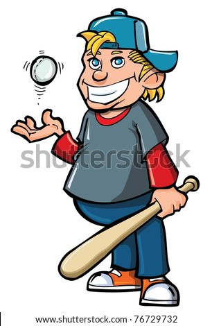 Cartoon of boy with baseball bat and ball. Isolated on white - stock vector