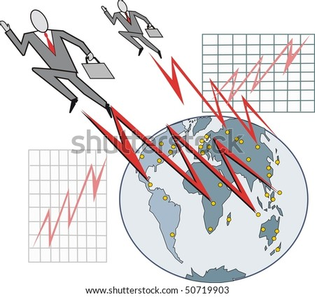 Cartoon of business executives striving to achieve goals around world globe.