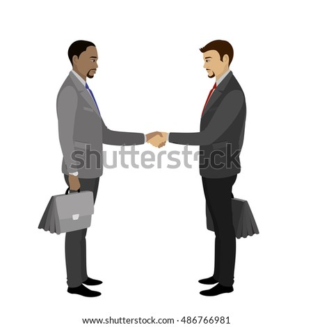cartoon of businessmen shake hand, concept for deals, teamwork, partnership in business,isolated on white background,vector illustration