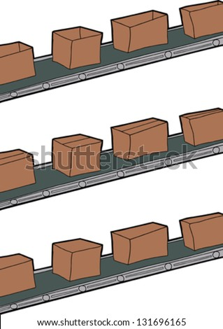 Cartoon of cardboard boxes on conveyor belts - stock vector