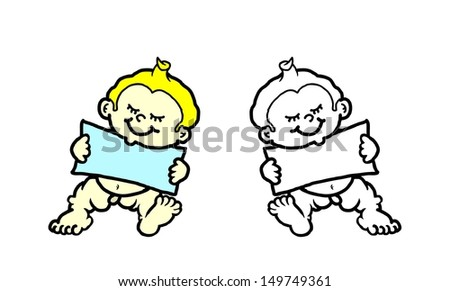 Cartoon of cute baby holding a blank banner with copy space for text.