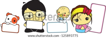 Cartoon of cute family holding blank sign.