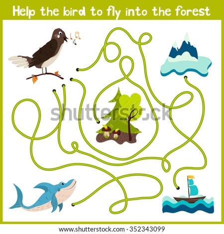 Cartoon of Education will continue the logical way home of colourful animals. Help the bird Nightingale to get home in the wild forest. Matching Game for Preschool Children. Vector illustration - stock vector