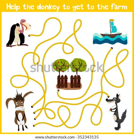 Cartoon of Education will continue the logical way home of colourful animals. Help the donkey to get home in the barnyard. Matching Game for Preschool Children. Vector illustration - stock vector