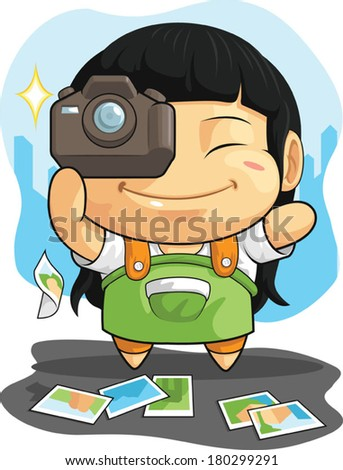 Cartoon of Girl Loves Photography - stock vector