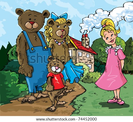 Cartoon of Goldilockes and the three bears infront of the bears house